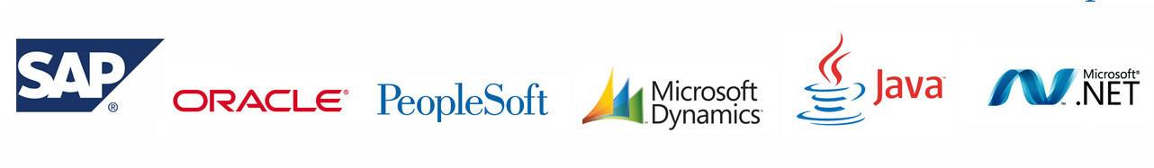SAP, Oracle, PeopleSoft, Microsoft AX, Dynamics, Java, .NET